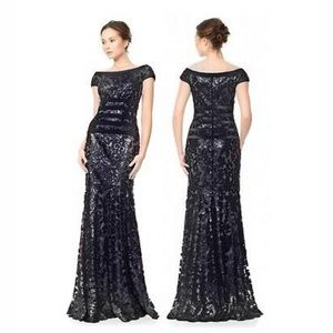Tadashi Shoji Night Black Lace Banded Gown